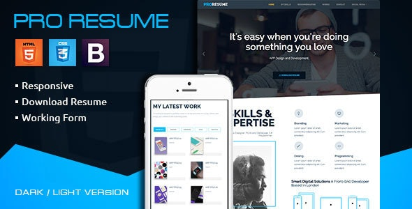 ProResume - CV Freelance Responsive Resume - Resume / CV Specialty Pages
