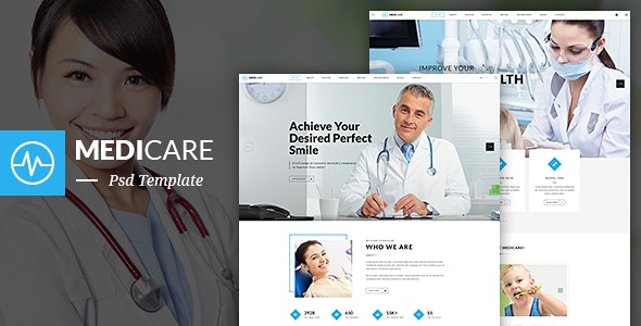 MediCare - Dentist, Medical One Page PSD Template - Health & Beauty Retail