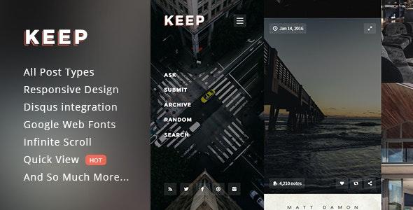 Keep - Responsive Fullscreen Grid Theme - Portfolio Tumblr