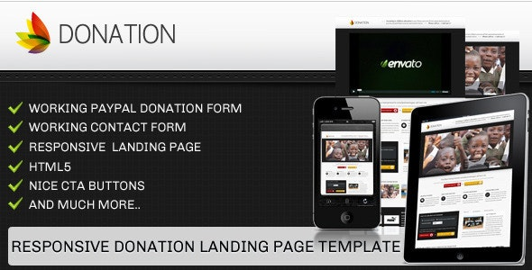 Donation landing page template - responsive - Charity Nonprofit