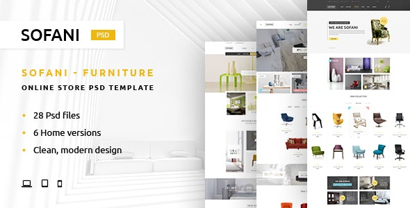 Sofani - Furniture Store PSD Template - Retail Photoshop