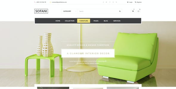 Sofani - Furniture Store PSD Template