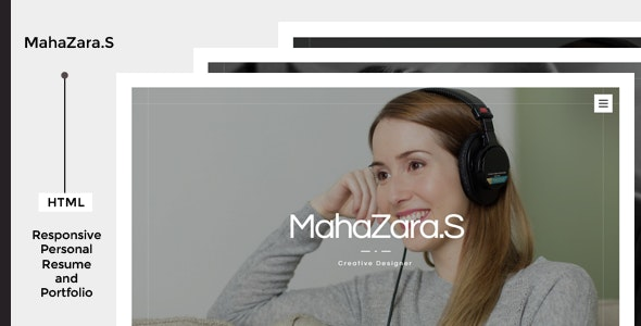 MahaZara.S HTML Personal Resume and Portfolio - Virtual Business Card Personal