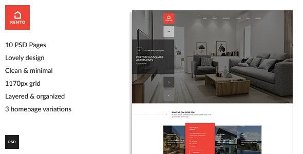 Rento - Real Estate PSD Theme - Photoshop UI Templates