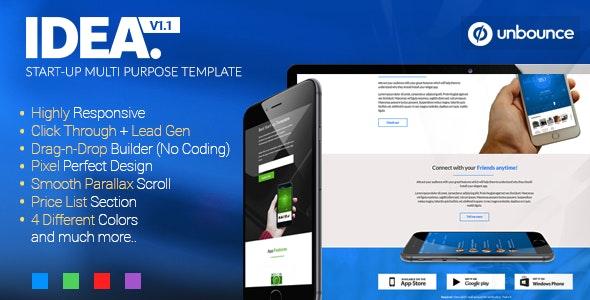 Idea - Startup Multi-Purpose Unbounce Template - Unbounce Landing Pages Marketing