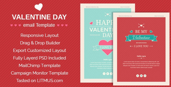 Happy Valentine wishes Email + ThemeBuilder Access - Email Templates Marketing