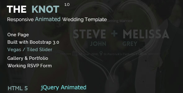 The Knot - Wedding Animated HTML Template - Wedding Site Templates
