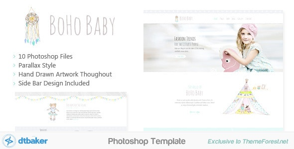 BoHo Baby - Hand Drawn Photoshop Template - Creative Photoshop