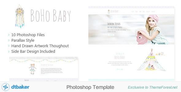BoHo Baby - Hand Drawn Photoshop Template - Creative PSD Templates