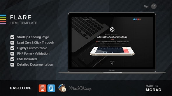 Flare - HTML Startup Landing Page Template - Marketing Corporate