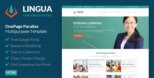 Lingua - School And Instructor Responsive Template - Portfolio Creative