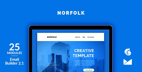 Norfolk Email Template + Online Emailbuilder 2.1 - Newsletters Email Templates