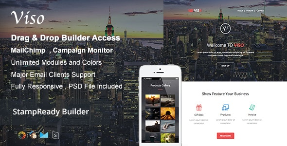 Viso - Responsive Email + Builder Online - Newsletters Email Templates