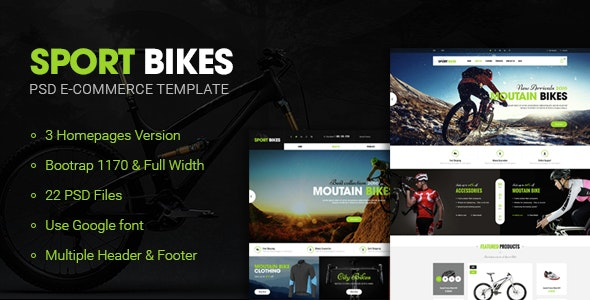 Sportbike - Multipurpose eCommerce PSD Template - Retail Photoshop