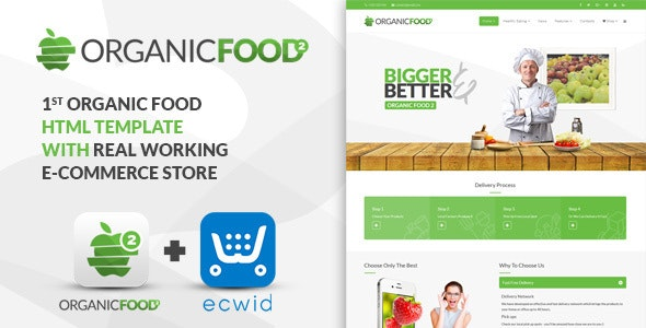Organic Food - Kitchen, Farm, Corporate, Landing Page & E-commerce HTML Template - Food Retail