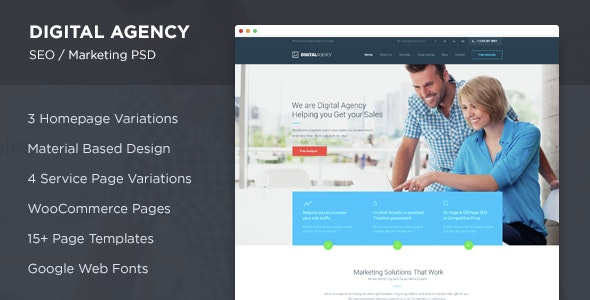 Digital Agency - SEO / Marketing PSD - Marketing Corporate
