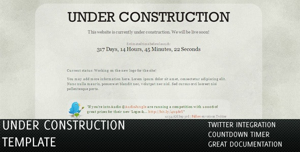 Under Construction Pages with Twitter & Countdown - Under Construction Specialty Pages