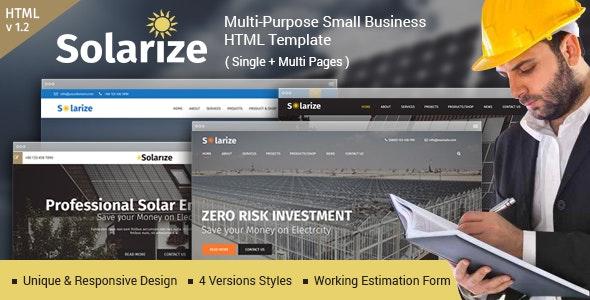 Solarize Multipurpose Small Business Html Template - Corporate Site Templates