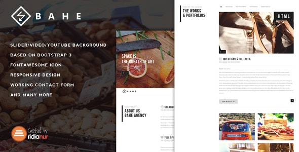 Bahe - Responsive One Page Portfolio HTML Template - Portfolio Creative