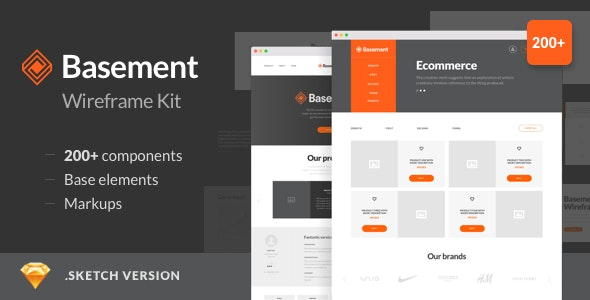 Basement Wireframe Kit - 200+ Components for Sketch - Marketing Corporate