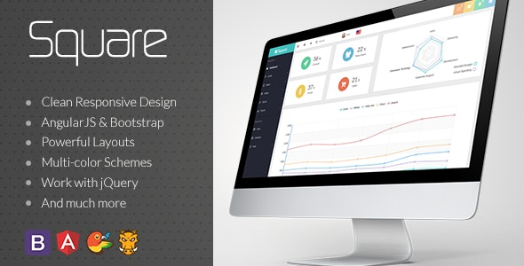 Square - Responsive Admin App with AngularJS - Admin Templates Site Templates