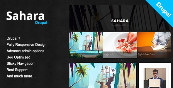 Sahara - A Clean & Responsive Drupal Blog Theme - Personal Blog / Magazine