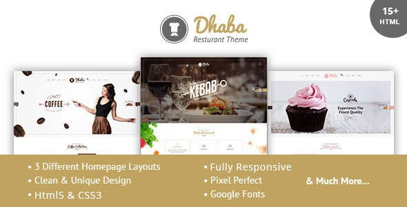 Dhaba - Restaurant, Coffee and Cake Shop HTML Template