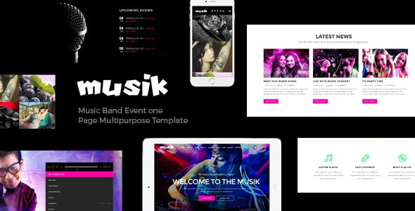 Musik - Music Bands, Artists, Musicians, Clubs OnePage Template  - Music and Bands Entertainment