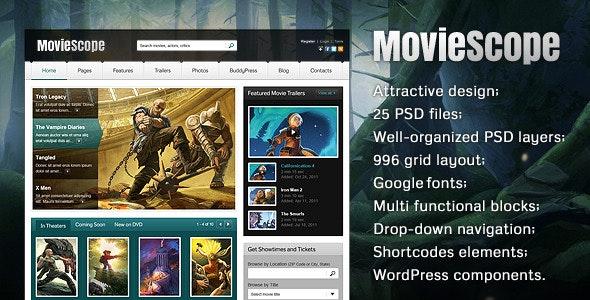 MovieScope PSD Template - Entertainment Photoshop
