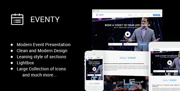 Eventy - Modern Event Muse Theme - Landing Muse Templates