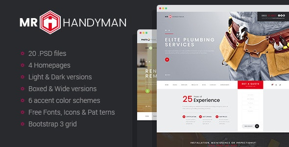 Mr.Handyman - Repair and Renovation PSD template - Business Corporate