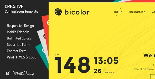 Bicolor - Creative Coming Soon Template  - Under Construction Specialty Pages