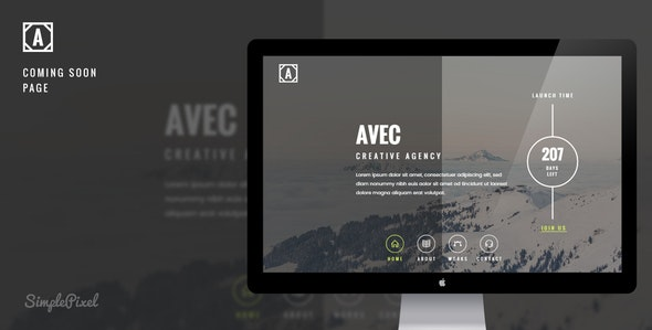 Avec - Creative Coming Soon Template - Under Construction Specialty Pages