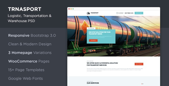 Transport - Logistic, Transportation & WareHouse PSD Template - Business Corporate