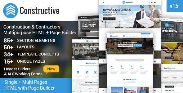 Constructive-Contractors Multi-Purpose HTML With Page Builder - Business Corporate