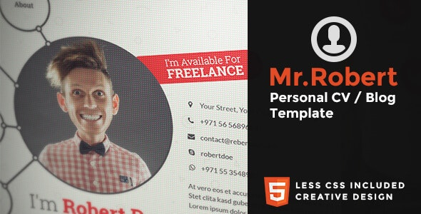 Mr.Robert - Creative Resume / CV template - Personal Site Templates