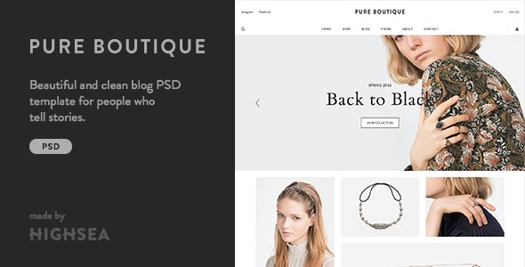 Pure - Accessories WooCommerce PSD Template - Fashion Retail