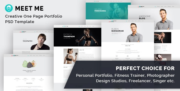 Meet Me - One Page Creative Portfolio PSD Template - Portfolio Creative