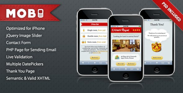 JQuery Mobile Landing Page Templates from ThemeForest