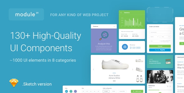 Module 01 UI Kit - 130+ UI Components for Sketch - Sketch Templates