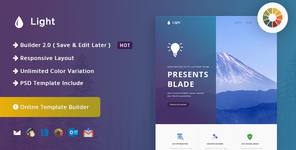 Light - Responsive Email and Newsletter Template  - Newsletters Email Templates