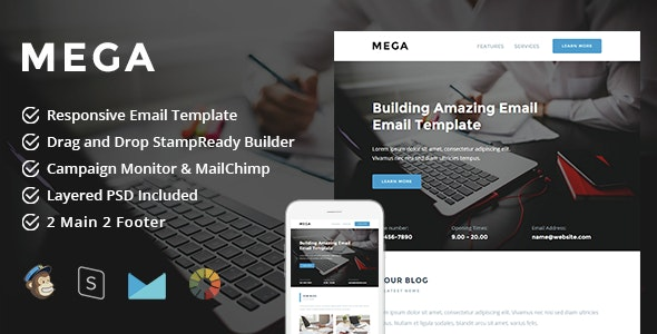 Mega - Responsive Email + StampReady Builder - Newsletters Email Templates
