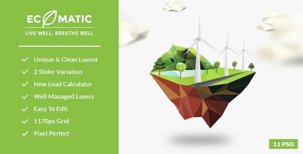 Ecomatic - PSD Template for Renewable Energy Businesses - Environmental Nonprofit