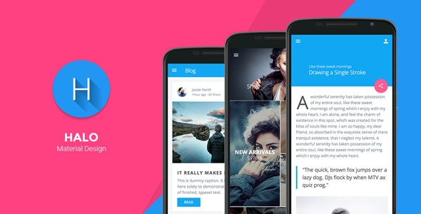 Halo - Material Design Mobile Template - Mobile Site Templates