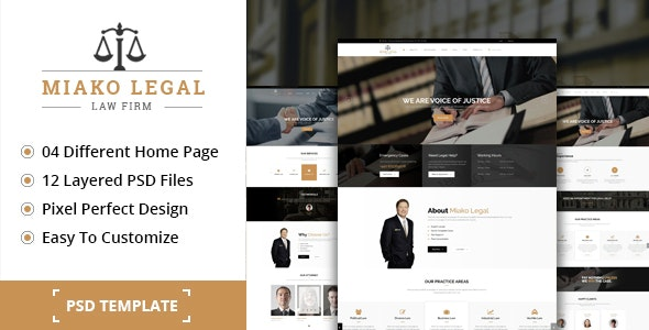 Miako Legal Law Firm PSD Template - Business Corporate