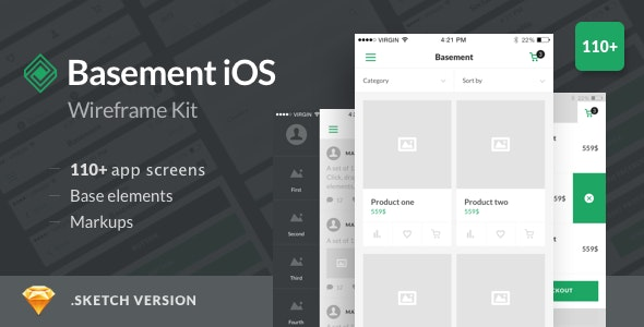 Basement iOS Wireframe Kit - 110+ App Screens for Sketch - Creative Sketch