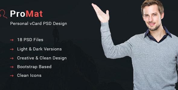 ProMat - Creative vCard Resume Template - Portfolio Creative