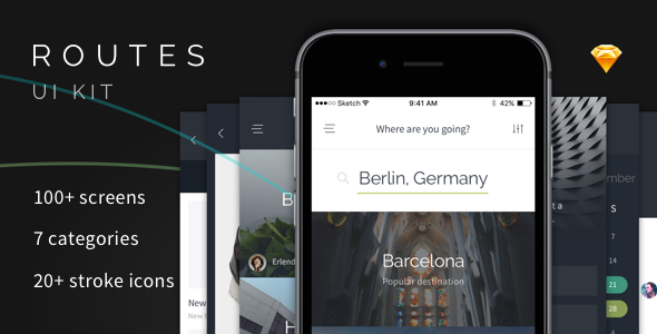 Routes UI Kit - 100+ iOS Screens for Sketch - Sketch Templates