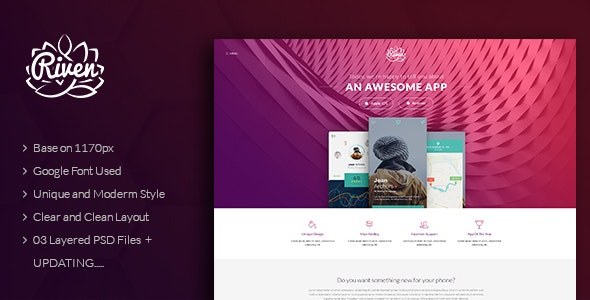 Riven - One Page App Landing PSD Template - Software Technology