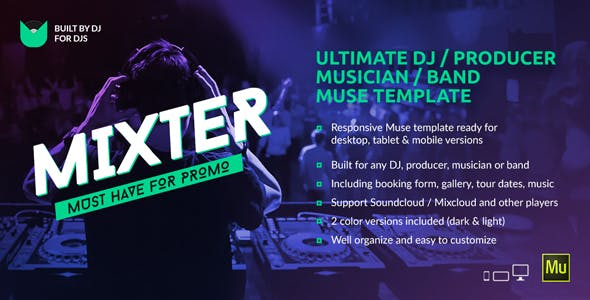 Mixter Ultimate Dj Producer Musician Band Website Muse Template Personal